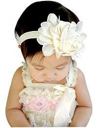 AkinosKIDS Pearl Chiffon Lace Flowers Elastic Infant Newborn Baby Girl Headbands (Ivory, Cream)