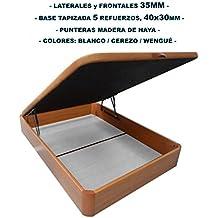 Canapé de madera con BASE TAPIZADA, laterales de 35 MM, punteras de MADERA DE HAYA, gran capacidad, medida 135x190CM, color cerezo.
