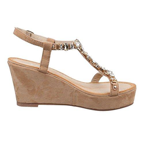 Damen Schuhe, HJ99-18, SANDALETTEN KEIL WEDGES PLATEAU PUMPS Camel