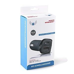 SKGAMES 2 Port KFZ Auto Schnell Ladegerät Adapter für Nintendo Switch / Schwarz / inkl. USB TYP-C auf USB TYP-C Ladekabel