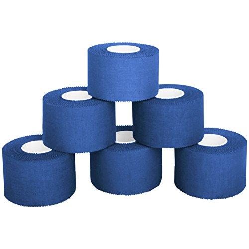 6 x cinta adhesiva deportiva 3,8 cm x 10 m, Color:azul