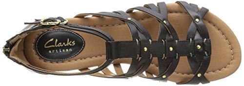 Clarks Viveca Rome, Damen Sandalen Schwarz (Black Leather)
