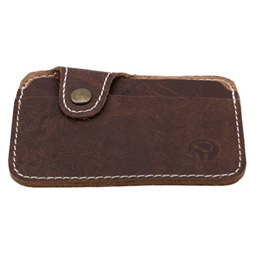 SUNSKYOO Echtes Leder Kreditkarten ID Halter, minimalistische schlanke Geldbörsen, Front Pocket Wallet für Männer und Frauen, Card Case, Dark Kaffee
