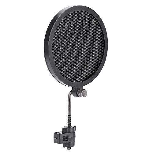 Dilwe 8cm Mikrofon-Popfilter, Swivel-Doppelschicht-Schallschutzhaube 360-Grad-Einstellbare Wind-Pop-Filter mit Halterung für Aufnahmestudio Mic-Zubehör (Schwarz) Mic Zubehör