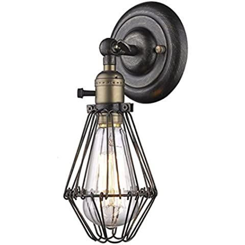 CLAXY Vintage Lámpara de Pared en forma de Jaula Retro Estilo Edison Industrial Iluminación