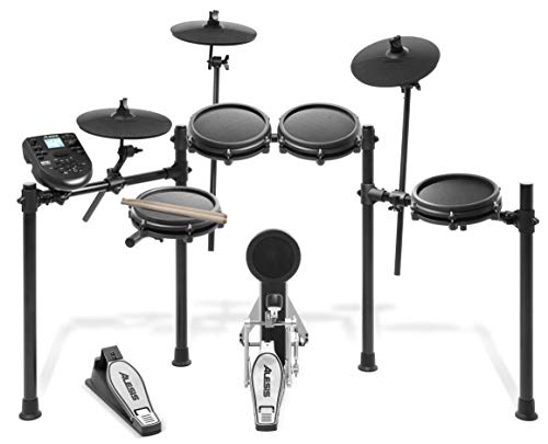 Alesis  Achtteiliges All-Mesh elektronisches Schlagzeug mit superstabilem Aluminium Rack, 385 Sounds, 60 Play-Along Tracks, Anschlusskabeln, Drum Sticks und Drum Key inklusive