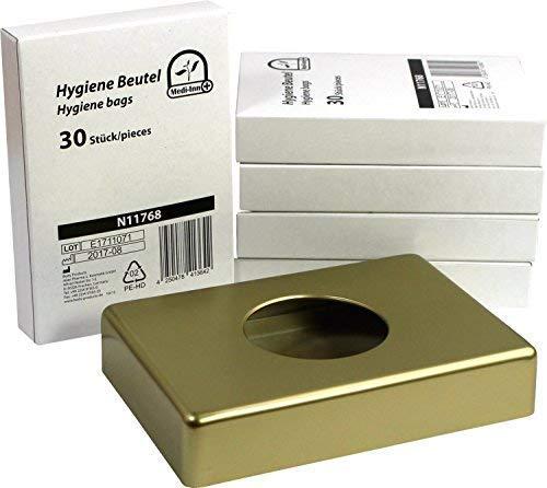 Hygienebeutelspender verschiedene Farben + 5 x 30 Hygienebeutel Starterset von Medi-Inn (gold+5x30Hygienebeutel)