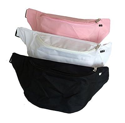 Sac Banane Minimaliste Et Uni (noir, blanc, rose) - OB8® Monochrome Sacoche De Taille (3 pièces), Sac Bum, Taille Pack, Waist Bag, Belt Bag, Bum Bag