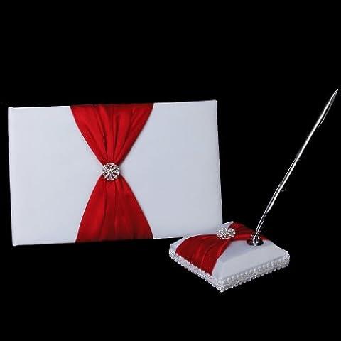 Matrimonio Libro Degli Ospiti E Penna Stand Nastro E Diamante Decor Rosso