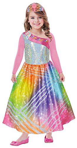 Kleid Kostüm Barbie - Amscan 9902375 Kinderkostüm Barbie Rainbow Magic mit Krone, 116 cm