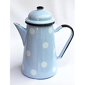 DanDiBo Kaffeekanne 578TB Hellblau mit weißen Punkten 1,0 L emailliert 22cm Wasserkanne Kanne Gießkanne Emaille