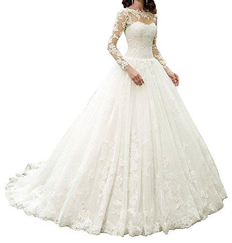 APXPF Damen Vintage-Kleider mit Langen Ärmeln Spitze Brautkleid Illusion Ausschnitt Braut 2...