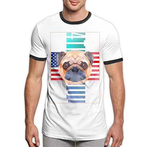 Vintage große amerikanische Flagge 4. Juli Mops Leben Männer Ringer T-Shirt Viertel Juli Lichter T-Shirt Haustierbedarf für Hunde Shirt Männer schwarz S