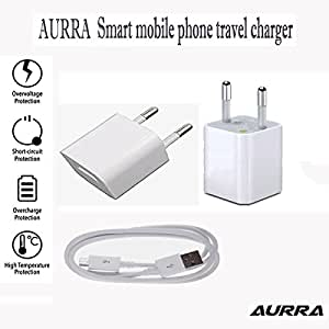 AURRA Heavy Duty Fast Charging 2 AMP Wall Travel Charger Adapter with 1 USB Port in-built Auto-detect Technology With 1.2 Meter Micro Usb Data / Charging Cable For Samsung Galaxy Note 3 Neo And All Smart Phone ( White / Black )