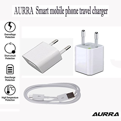 AURRA Heavy Duty Fast Charging 2 AMP Wall Travel Charger Adapter with 1 USB Port in-built Auto-detect Technology With 1.2 Meter Micro Usb Data / Charging Cable For Celkon A418 And All Smart Phone ( White / Black )