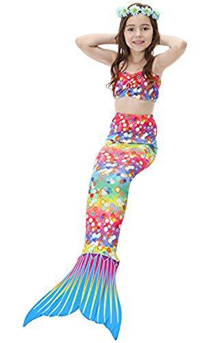 Das Beste Mädchen Meerjungfrauen Bikini Kostüm Meerjungfrau Schwimmanzug Badeanzüge (Kostüm Puppe Leggings)