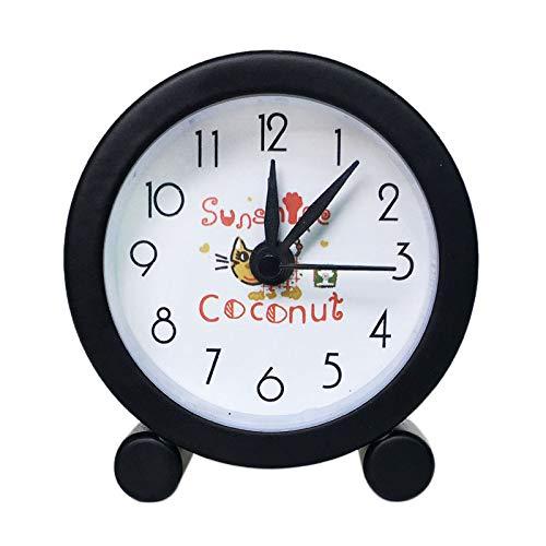 LX~clock Alarm Uhr Kreativ Neuheit Mini Metall Quote Stumm Klein Alarm Uhr Exquisit Arbeiter Karikatur Alarm Uhr Schläfchen/Schwarz / 5cm