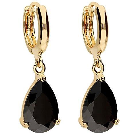 MYA art Premium Damen Goldene Creolen Ohrringe Hängend Ohrhänger mit