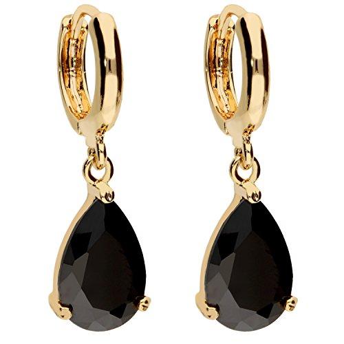 MYA art Premium Damen Goldene Creolen Ohrringe Hängend Ohrhänger mit Zirkonia Stein Tropfen-Anhänger Gold Vergoldet Gelbgold Schwarz MYAGOOHR-30