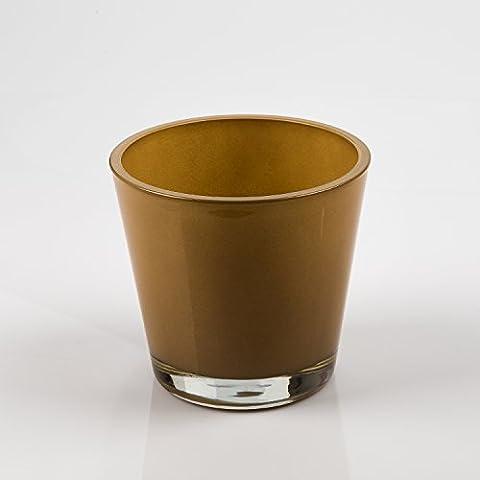 Vaso da fiori / Portacandela RINA, ocra, 13 cm, Ø 14 cm - Portalumino / Vaso decorativo - INNA Glas