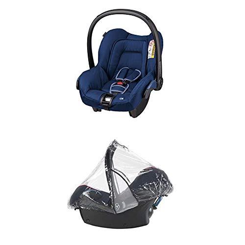 Maxi-Cosi Citi Babyschale, Kinderautositz, Auto-Kindersitz Gruppe 0+, River Blue + Regenschutz für Autositze Pebble, Cabriofix und Citi SPS