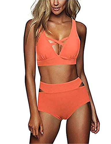 FeelinGirl Cruz Estilo Marino Dos Piezas Conjunto de Bikini para Mujer Traje de Baño Sexy Cruzado-Naranja...