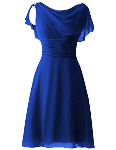 HUINI Perline paillettes Cap Sleeves Corto Ballo di fine anno Abiti da festa damigella d'onore Abiti formali Blu reale