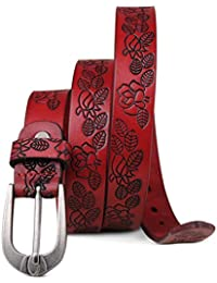 ee3e075071 Baouu Cinturón En Relieve Cinturón Femenino Damas de Cuero Fino Cinturón  Estrecho Primera Capa Piel de
