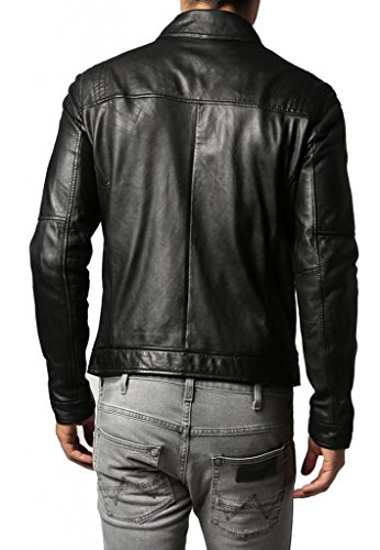 Leather4u KC696 Herren Lederjacke, Rindsleder , Schwarz - 3
