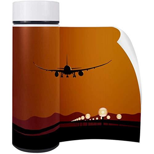 Bennigiry DreamLiner Landing at Sunset Thermos Edelstahl Vakuumisolierte Kompakte Getränkeflasche 450 ml - Landing 450
