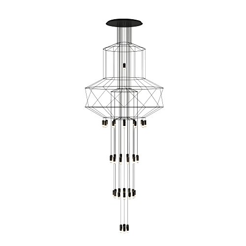 Vibia wireflow Chandelier 0375 Suspension LED, noir RAL 9005 laqué Push cri > 80 2700 K 21082 lm Dali 1-10 V 50-60 Hz H 396 cm Ø 150 cm