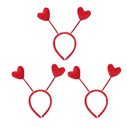 Lurrose 3 Stücke Frühling Herz Haarreif Weihnachten Stirnband Haarband Haarschmuck für Frauen Mädchen Kinder Geburtstag Party(Rot)