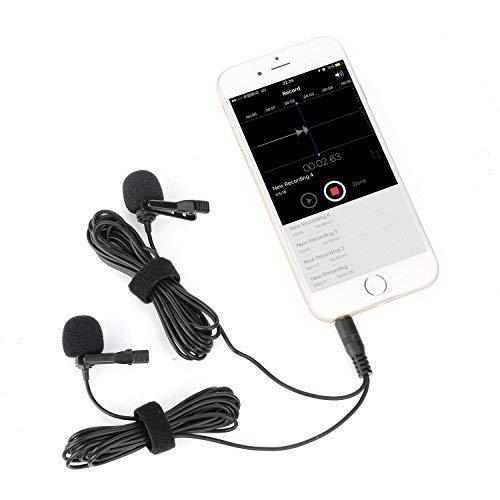 Mouriv CM206 doppio microfono lavalier, clip on Lapel intervista mini omnidirezionale microfono a condensatore camicia esterna per iPhone, smartphone Android, iPad