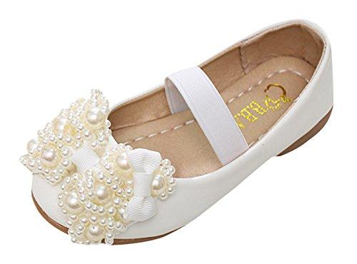 EOZY-Ballerina Bambina Elastica Corda Sandali Fiocco Perline Bimba Scarpe Bianco Lunghezza Interna 19cm