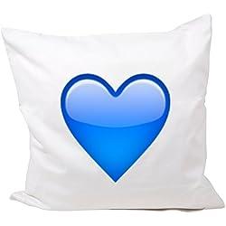 """Funda de almohada 40x40 microfibra """"Corazón Azul"""", Smiley, Emoji, cojines, decorativo, malla, almohadilla del cuello, el iPhone, emoticonos."""
