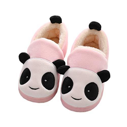 KVbaby Hausschuhe Mädchen Winter Jungen Weiche Plüsch Pantoffeln Wärme Baumwoll Cartoon Hausschuhe Leicht Rutschfeste Slippers für Herren Damen Pink 28-29 EU