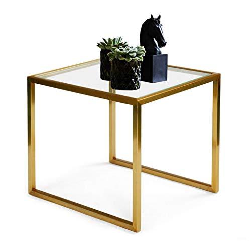 Eisen-glas Beistelltisch (Eckregale, Eisen-Glas, Couchtisch, Kreatives Sofa, Beistelltisch, Kleiner Couchtisch, Wohnzimmer, Schlafzimmer, quadratischer Tisch (golden), 50 x 45 x 45 cm, Gold, 50 * 45 * 45cm)