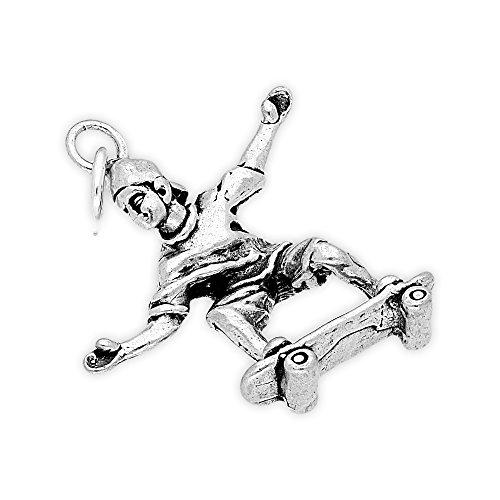 TheCharmWorks Sterling-Silber Rollbrettfahrer Charmanhänger | Sterling Silver Skateboarder Charm