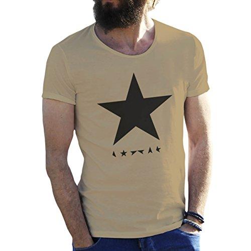 Black Star David Bowie Arena Beige Camiseta para Hombre Medium
