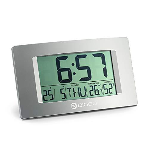DIGOO - Despertador digital con pantalla LCD y función de repetición de alarma, termómetro interior...