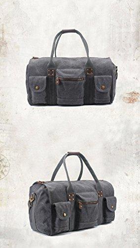 E-Bestar Unisex Schultertasche Canvas Vintage Handtasche Canvas Leder Retro Reisetasche Vintage Canvas Tasche Herren Handgepäck (Armee Grün) Grau