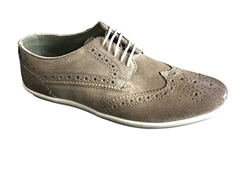 Base Herren Perform perforierte Leder Schuhe mit Schnürung Greasy Suede Taupe