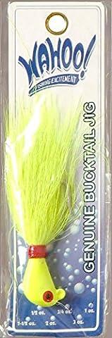 Wahoo Fishing Chartruese Striper Bucktail Jig 1 Ounce - Saltwater Hook