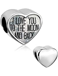 Pugster &apos Charm Colgante de forma de corazón con texto I love you to the Moon and Back plateado para pandora de pulseras