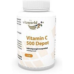 Vita World Vitamin C 500mg Depot 120 Vegi Kapseln Apotheker-Herstellung magensaftresistente Umhüllung (gecoated)
