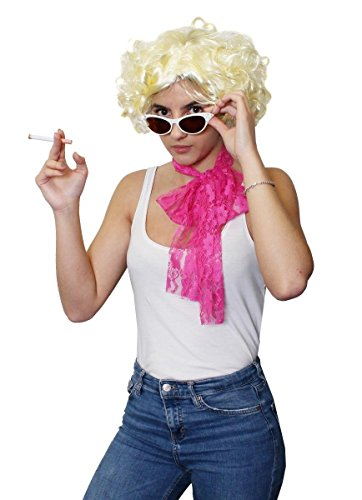 Déguisement accessoires pour adulte avec écharpe en dentelle rose + des lunettes blanches + une perruque blonde + une fausse cigarette. Idéal pour les enterrements de vie de jeune fille ou les spectacles de danse ambiance rock'n roll des années 50's.