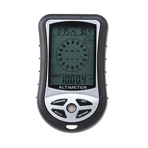 Barometer - TOOGOO(R)8-in-1 Funktion Digitales LCD Kompass Hoehenmesser Barometer Thermo Temperatur (Schwarz)
