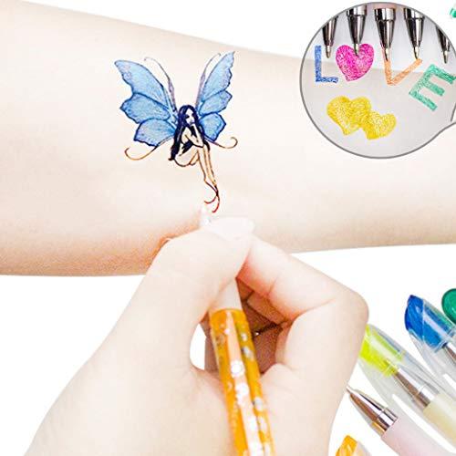 MEIGUISHA Spielzeug - 6 STÜCKE Kinder DIY Tattoo Stifte Handdrawing Tattoo Gelschreiber Neuheit Kinderspielzeug