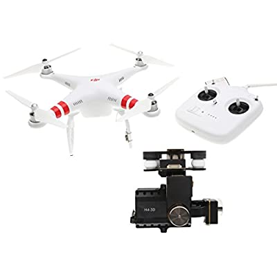 DJI Phantom 2 UAV Aerial Quadcopter Drone with Zenmuse H4-3D Gimbal Action Camera Mount Compatible with GoPro Hero4 and Action Cameras - White
