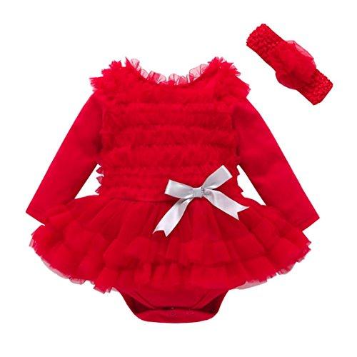 Increspature solide del merletto della ragazza dei bambini del bambino dei bambini inverno dell'abito di principessa dell'inverno di autunno rawdah (3-6 mesi, rosso)